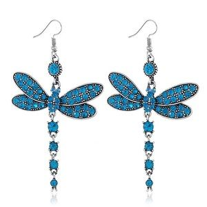 Gorgeous Rhinestone Blue Dragonfly Earrings